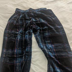 Zara High Waisted Velvet Black and Navy Check Pant
